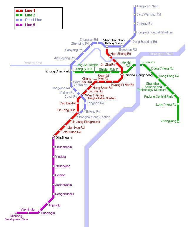 Китай Шанхай: Схема метро