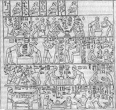 Ремесленная мастерская вельможи, рельеф из гробницы, V династия.