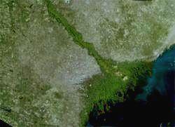 Дельта Волги. Вид из космоса.
