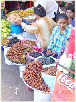 Рынок насекомых в Пномпене
